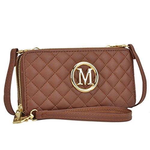 Fully Lined Quilted Wallet - Women Quilted Leather Wallet Clutch Large Travel Corssbody Shoulder Purse Zip Around Brown