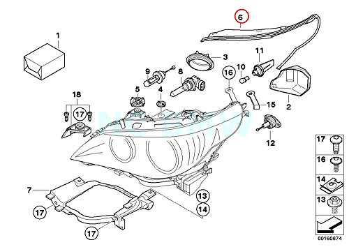 BMW Genuine Left Headlight Gasket