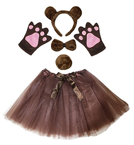Petitebella Brown Bear Headband Bowtie Tail Gloves Tutu 5pc Lady Costume (One Size) -