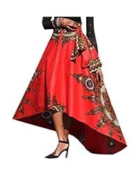 Vska Women Floral Print Dashiki Swing African Unbalanced Hem Long Skirt