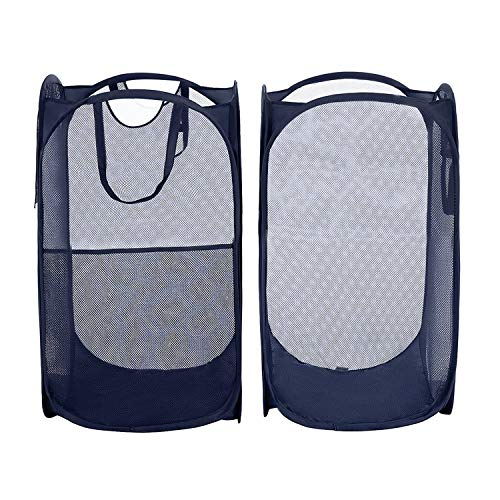 Free Walker Pop Up Laundry Hamper with Side Pocket and Sturdy Handles(2 Packs),Easy to Carry and Stand Up,Foldable Mesh Popup Hamper for Kids and Adults(Blue)
