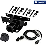 TYGER Towing Combo: 2inch Receiver Hitch & Wiring Harness & Hitch Cover Fits 2007-2017 Wrangler JK (2Dr & 4Dr)