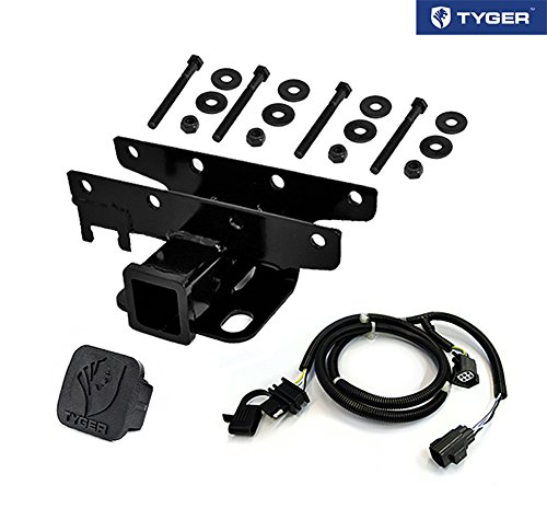 TYGER Towing Combo: 2inch Receiver Hitch & Wiring Harness & Hitch Cover Fits 2007-2018 Wrangler JK 2Dr & 4Dr (Exclude 2018 JL ()