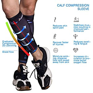 Calf Compression Sleeve Guards (1 Pair) - Leg Compression Socks for Shin Splint, Sports Footless Calve Sleeves - Men Women Runners for Running Cycling Maternity Travel Nurses by ASOONYUM from Asoonyum Direct