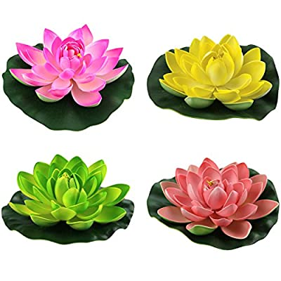 Lightingsky Artificial Floating Foam Lotus Flower Pond Decor Water Lily