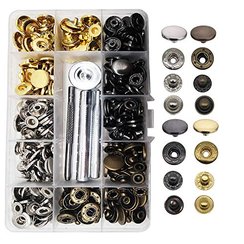 Meikeer 80 Stes Snap Fasteners Kit Snaps Buttons 15mm Metal Snaps with 4  Pieces Fixing Tools 4 Color Clothing Snaps Kit for Thin Leather Jacket  Jeans