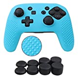 YoRHa Studded Silicone Cover Skin Case for Nintendo Switch Pro controller x 1(blue) With Pro thumb grips x 8