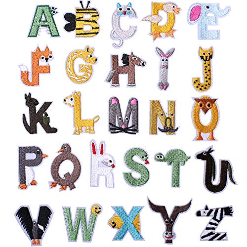 SHELCUPCool Embroidered Iron Patches, for Jackets, Packs, Jeans, Assorted Styles, Letters, 26pcs Letters style 2