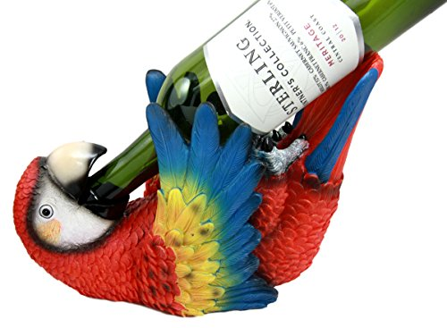 Ebros Gift Tropical Rio Rainforest Red Scarlet Macaw Parrot Wine Bottle Holder Caddy Figurine 10.25