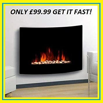 TruFlame Black Glass Curved Electric Wall Mounted Fireplace With