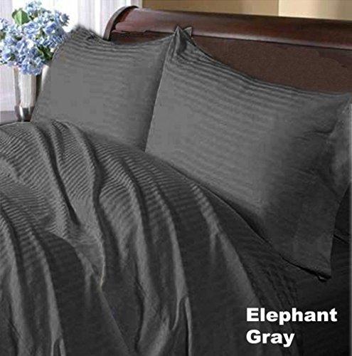 100% Organic Egyptian Cotton 400TC Olympic Queen Size 8PC Duvet set(1 Duvet Cover 88x90inch,2 Pillow Case) &Sheet Set(1 Fitted Sheet 66x80 Inch,1 Flat Sheet 97x105 Inch,2 Pillow Case 20x30 Inch) & Bed Skirt 66x80 Pocket Drop 10 InCh Dark Grey Stripe