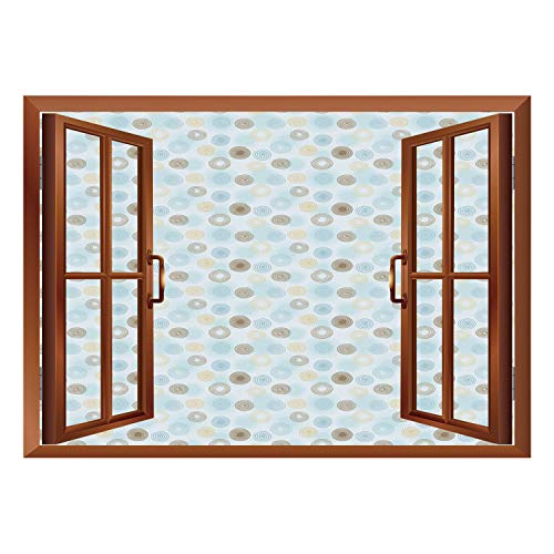 SCOCICI Wall Mural, Window Frame Mural/Brown and Blue,Twirls Vortex Design Geometric Curved Lines Hypnotic Elements Decorative,Pale Blue Mustard Umber/Wall Sticker Mural