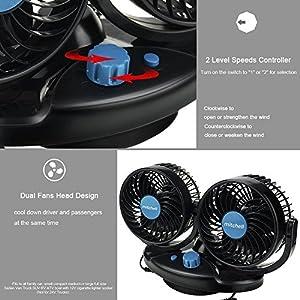 Anpress 12V Car Auto Cooling Fan Oscillating Car Air Fan with Dual