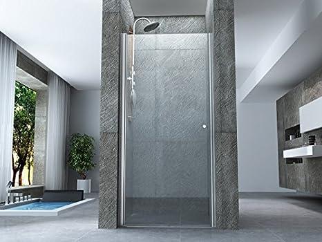 70 cm Porta doccia battente interno esterno a saloon in cristallo 8mm trasparente h.195cm PERLA