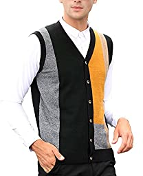 Nidicus Mens Slim Fit Colorful Block Basic Button Up Knitted Sweater Vest Yellow M