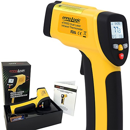 Temperature Gun by ennoLogic - Accurate High Temperature Dual Laser Infrared Thermometer -58°F to 1202°F - Digital Surface IR Thermometer eT650D - w/ NIST Certificate by ennoLogic