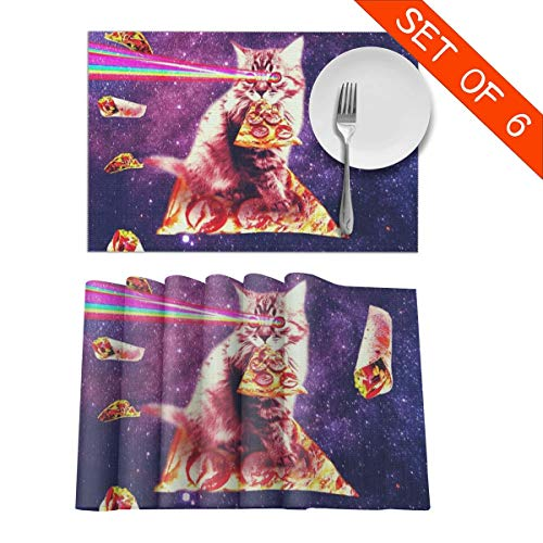 Space Cat Eating Pizza Rainbow Laser Eyes Table Mats Washable Placemats for Dining Room Kitchen Table Decor 6pcs Placemats 12 X 18 Inch -