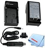 Car/Home Charger for NP-FV50 Rechargeable Battery for Sony DCR-SX53E, DCR-SX63, DCR-SX65, DCR-SX83, DCR-SX85, DCR-SX85/S, DCR-SX85E, DEV-3 Digital Recording Binoculars DEV-5 & More Camcorders + Microfiber Cloth