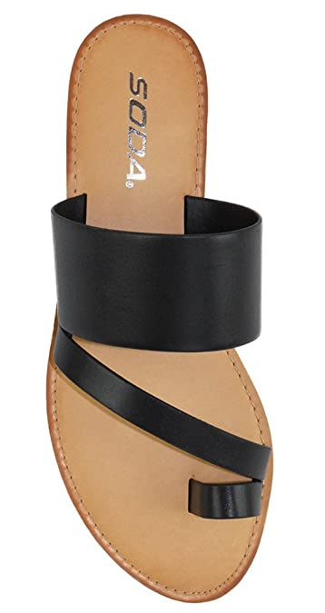 Soda Shoes Women Flip Flops Flat Summer Basic Sandals Thongs Toe Ring Black JOAN