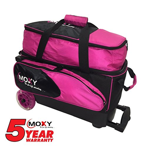Moxy Blade Premium Double Roller Bowling Bag- Pink/Black by Moxy Bowling Products