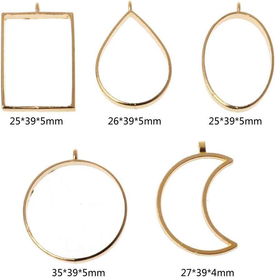 Alliage de zinc Ellipse Wabfor/Lot de 10/pendentifs en alliage avec cadre ouvert en forme de fleur press/ée avec boucle pour la fabrication de bijoux en r/ésine UV Silver