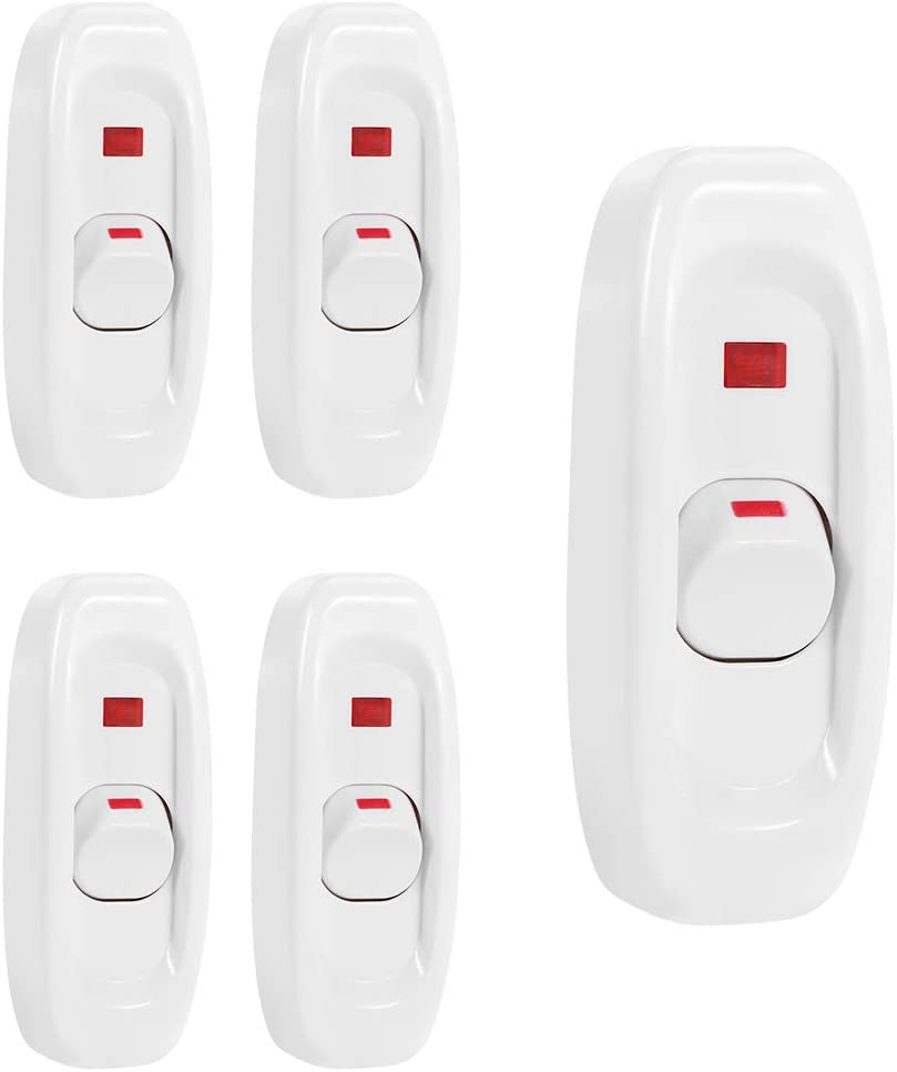 Feed Through Switch 5 Pcs Appliance Switch Inline Cord Switches Rocker Switch Max 250V 10A for Electrical Cord Table Lamp Desk Light On Off Replacement with LED Indicator, 120 Volt White, Pack of 5