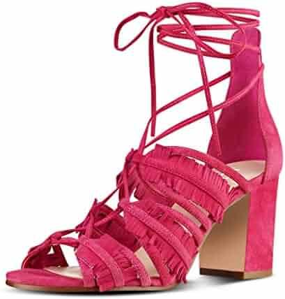e4b8c99d9281 YDN Womens Summer Block Low Heel Tassels Sandals Peep Toe Lace-up Bridal Dress  Shoes