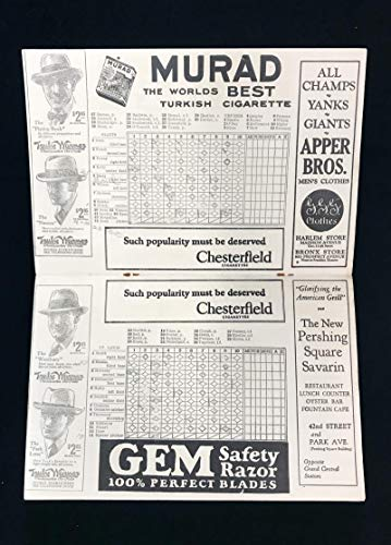 1924 NY Giants Baseball Scorecard Program. Polo Grounds. New York St. Louis.