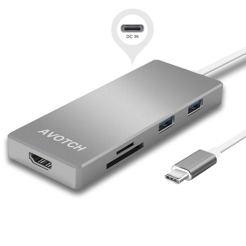 AVOTCH USB-C Digital AV Multi-port Adapter, USB C Hub,3.1 Type C Hub, HDMI 4K Output, Card Reader, 3 USB 3.0 Ports for 2016 MacBook Pro and more USB C Devices - Grey