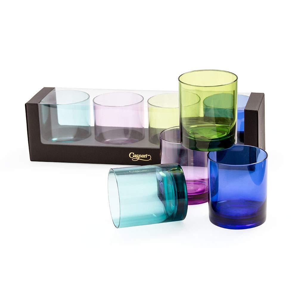Caspari Acrylic 14oz On the Rocks Highball Glass Gift Set in Jewel Tones, Set of 4