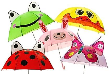 3D para niños con diseño de paraguas infantil con diseño de rana y de la mariposa