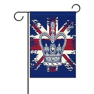 oprint corona la unión jack jardín banderas Vintage poliéster tela Lovely y resistente al moho Decoración para el hogar Custom de resistente al agua