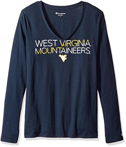 (Champion NCAA West Virginia Mountaineers Women's Long Sleeve V-Neck Tee, X-Small, Navy)