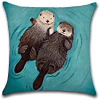 "YANGYULU New Arrival Cute Animal Otter Lover Couple Sleep Cotton Linen Home Decorative Throw Pillow Case Sofa Cushion Cover 18"" x 18"""