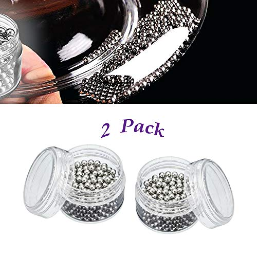 Amlong Plus Stainless Steel Cleaning Beads for Wine Decanters and Bottles, 2 Pack