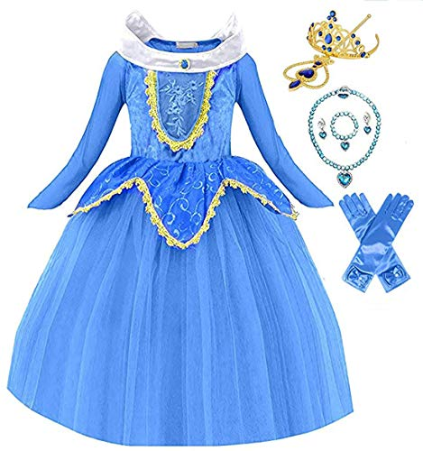 Princess Sleeping Beauty Aurora Party Costume Dress (4-5, Blue)
