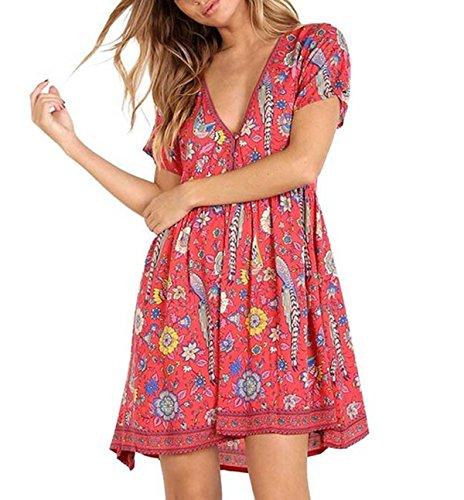 (R.Vivimos Womens Short Sleeve Print V Neck Cotton Short Dresses Large Red)