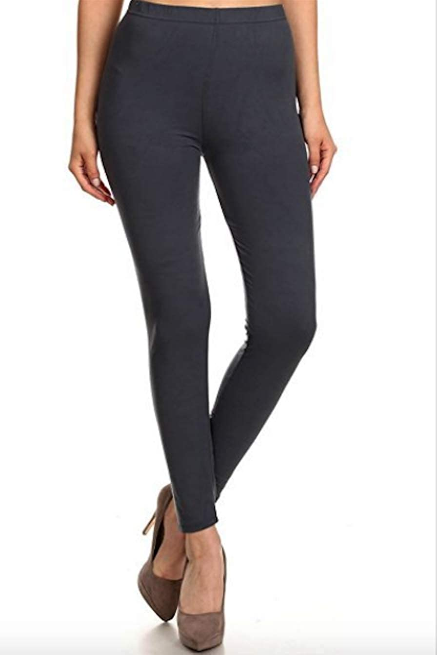 Premium Ultra Soft Normal Waist Black & Charcoal Grey Leggings for Women