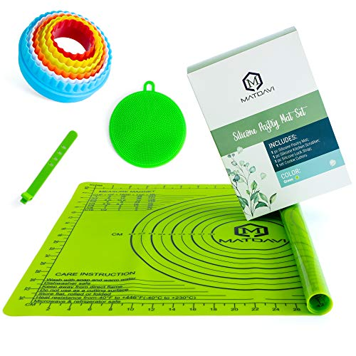 Silicone Baking Mat with Measurements Set - Non-Stick Silicone Dough Liner Pad Kneading for Rolling Pastry - Heat Resistant Reusable Silicone Board Kitchen Scrubber Cookie Cutters Silicone Lock Strap