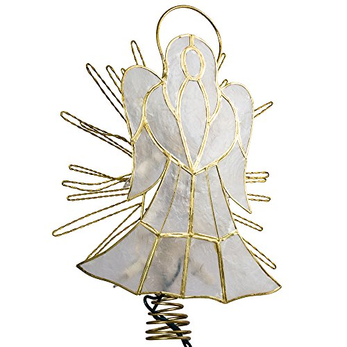 Kurt Adler 10-Inch Capiz Angel with Twisted Wire Treetop (Topper Simple Angel Tree)