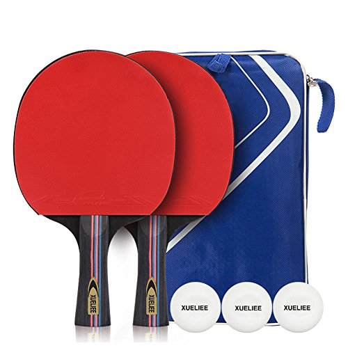 Table Tennis Set - XUELIEE 2 Pack Premium Paddles/Rackets and 3 Table Tennis Balls with Carrying Case - Soft Sponge Rubber - Ideal for Professional Recreational Games (Table Tennis Set) by XUELIEE