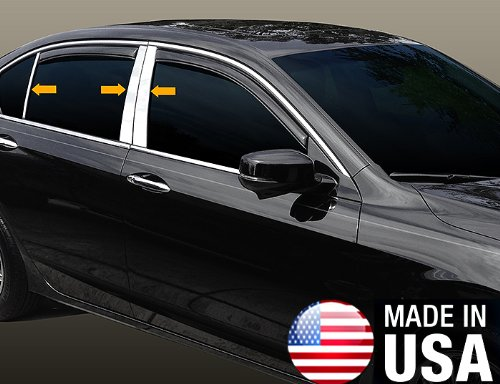 (Made in USA! Works with 2008-2012 Honda Accord Sedan 6 PC Stainless Steel Chrome Pillar Post Trim )