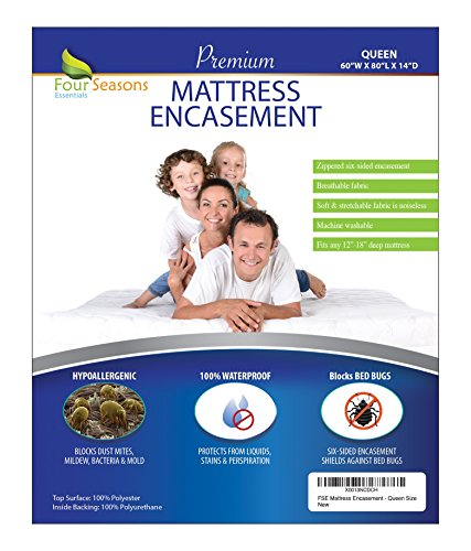 Queen Mattress Protector Bedbug Waterproof Zippered Encasement Hypoallergenic Premium Quality Cover Protects Against Dust Mites Allergens (Bed Liners Queen compare prices)