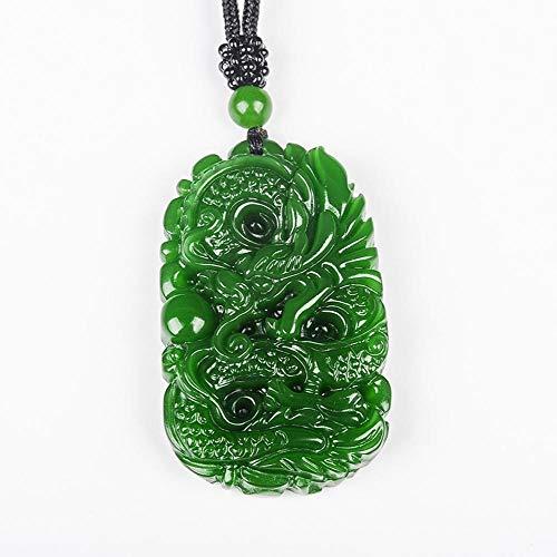 Mayanyan Natural A Goods Hetian Jade Pendant Green Dragon Medal Pendant Gift for Men and Women