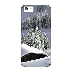 MMZ DIY PHONE CASEDefender Case For ipod touch 5, Snowed In Cabin In The Mountains Pattern