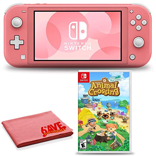 Nintendo Switch Lite (Coral/Pink) Console Bundle with Animal Crossing: New Horizons Game and 6Ave Cleaning Cloth