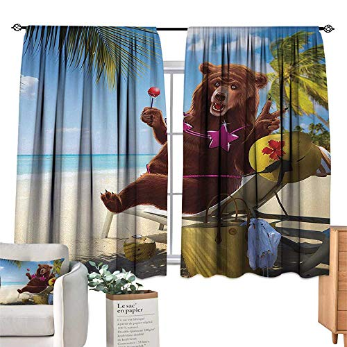 - Warm Family Customized Curtains Animal,Happy Fancy Wild Hot Sexy Bear with Bikini Top on The Beach Sunbathing Work of Art,Multicolor Noise Reducing 72