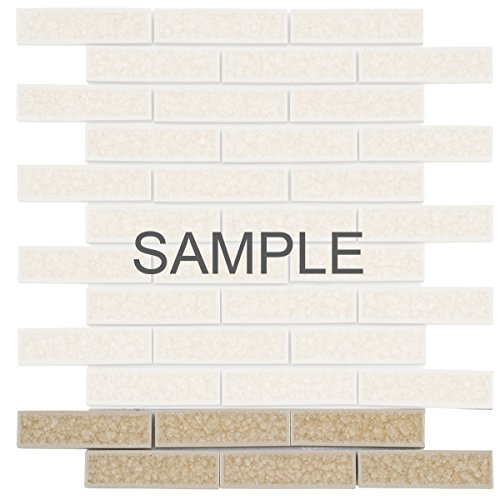 Modket TDH177MO-S Sample Beige Cream Crackle Glass Mosaic Tile Brick Joint Pattern (Cream Mosaic Tiles)