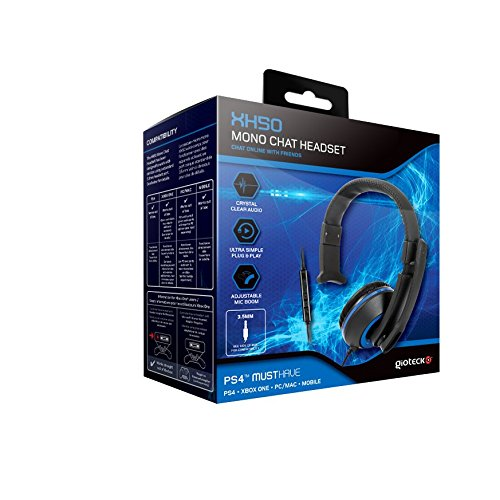 Amazon.com: Gioteck XH-50 Wired Mono Headset With Adjustable MIC Boom For Sony PS4 | Black: Computers & Accessories