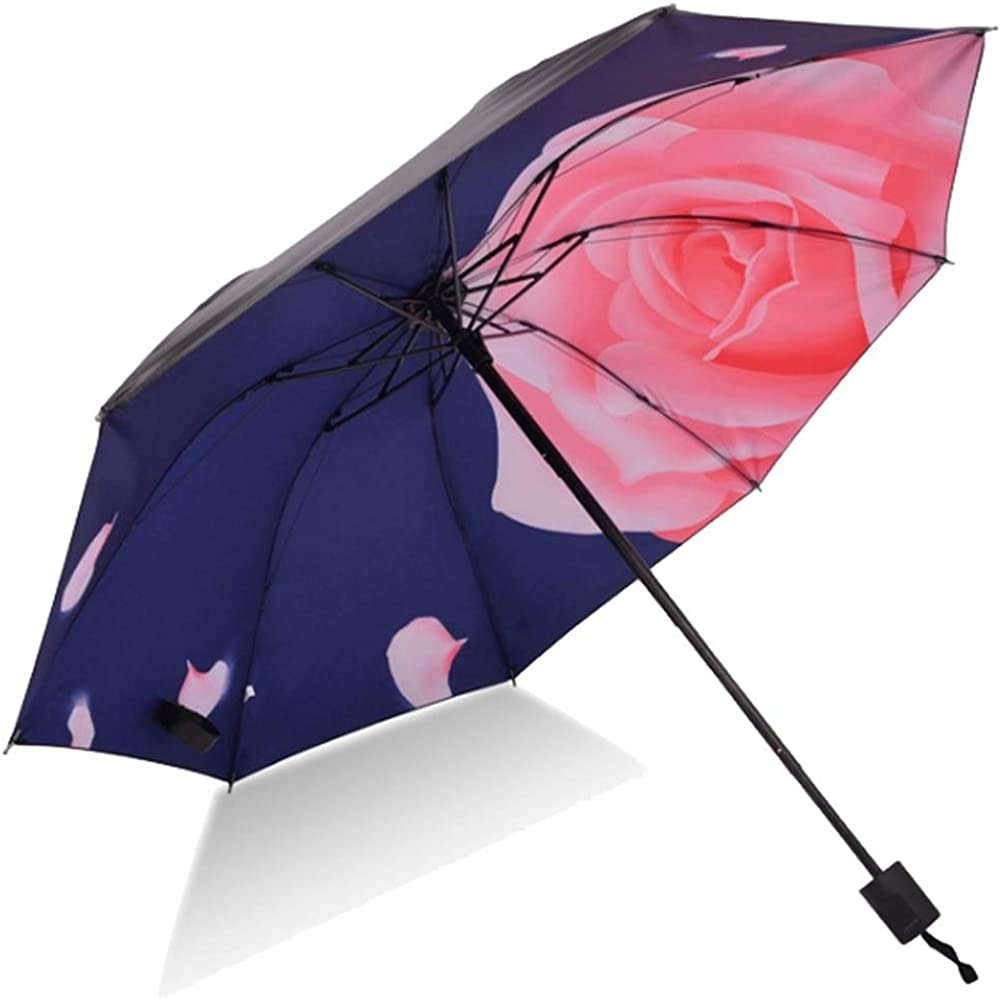 折りたたみ婦人傘 日傘 バラ(藍) Amazon